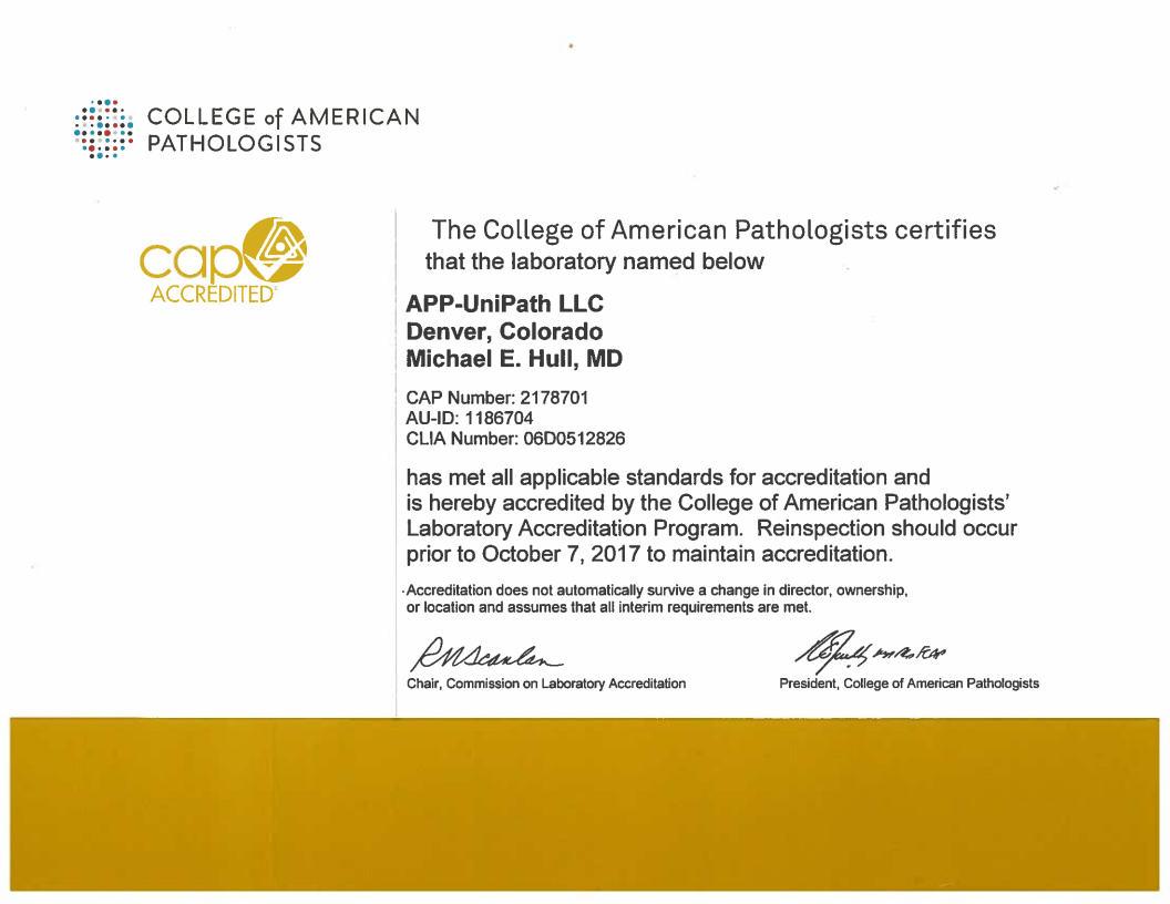 cap certificate american college pathologists ap2 pathology clia partners
